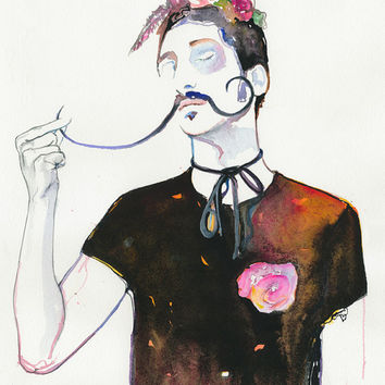 Print of Watercolour Fashion Illustration. Titled - Dali's Rose