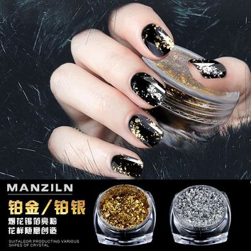 2017 new gold silver paillette Magic Mirror Nail Glitters Shinning Powder DIY nail art tool