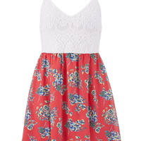 Lace And Floral Print Dress - Multi