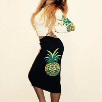 Pineapple Print High Waist Bodycon Midi Skirt