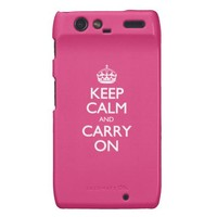 Cabaret Red Fuchsia Keep Calm And Carry On Motorola Droid RAZR Cases from Zazzle.com