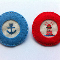 Sailor set embroidered felt brooch