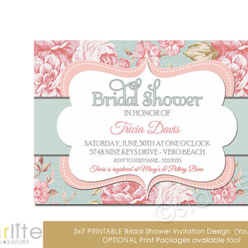 Bridal Shower Invitation - English Floral - Vintage Style - Distressed Shabby Pink Blue, Vintage Chic - unique invitation - You Print