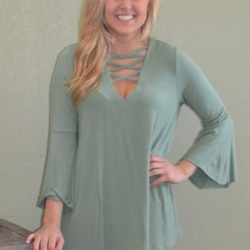 Take the High Road Bell Sleeve Top: Sage
