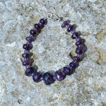 Dark Purple Amethyst Stone Bracelet Beads Handmade Gemstone Birthstone Jewelry Kynd Valley