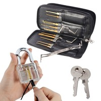Drillpro 24 pcs Lock Pick Set Hook Lock Pick Set Locksmith Lock Pick Kit Leather Packing with Transparent Practice Padlock for Lock Pick Training, Trainer Practice