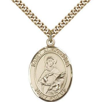 "Saint Alexandra Medal For Men - Gold Filled Necklace On 24"" Chain - 30 Day Mo... 617759813555"