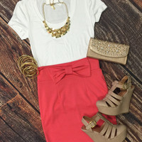 Bow Front or Back Skirt: Coral