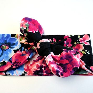 Knotted Headband | Floral & Black | Gypsy Soul Collection