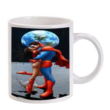 Gift Mugs | Superman Wonder Woman Kissing Ceramic Coffee Mugs