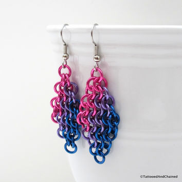 Bi pride earrings, chainmaille European 4 in 1 weave