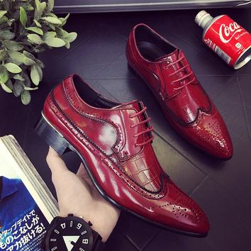 Men's Leather Business Pointed Dress Shoes