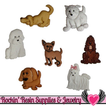 Jesse James Buttons 7 pc PUPPY PARADE Dog Buttons