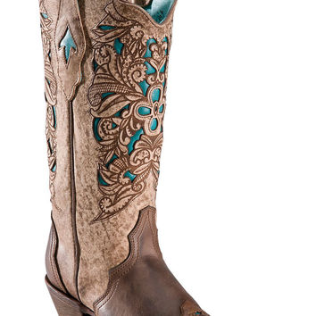 Corral Brown/Turquoise Laser Tooled Inlay Cowgirl Boots