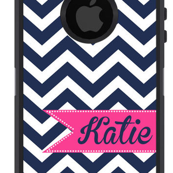OTTERBOX DEFENDER iPhone 5 5S 5C 4/4S iPod Touch 5G Case Custom Navy Chevron stripes Magenta Ribbon Banner - Monogram Personalized