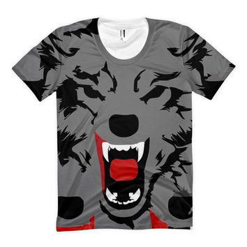 Women's Sublimation T Shirt Picasso Wolf
