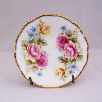 Vintage Queens's Staffordshire Fine Bone China Small Dish, Vintage Rose Pattern Dish, English Vintage, UK Seller