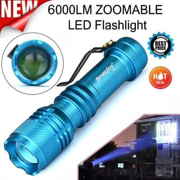 MUQGEW  ZOOMABLE LED Flashlight Torch Super Bright   Light Weight Low Power Consumption Compact 6000LM CREE Q5 AA/14500 3 Modes