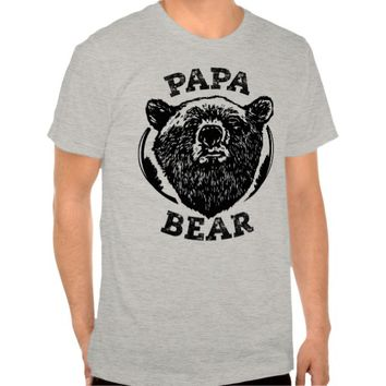 """Papa Bear"" Vintage Style Black Bear Dad T Shirt"