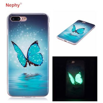 Nephy Glow Ultra Slim butterfly Soft Silicone Phone Case For iPhone X 8 7 6 S 6S Plus 6Plus 7Plus 5 5s SE Cover Casing Housing