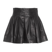 SLY 010  Chic Leather Black Leather pleated skirt - What's new