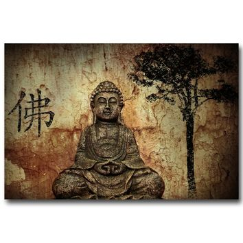 NICOLESHENTING Buddha Motivational Art Silk Poster 13x20 24x36inch Print Buddhist Lotus Trippy Pictures for Home Wall Decor 009