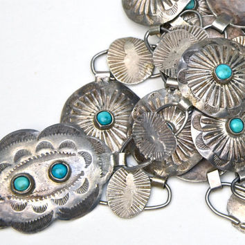 40s Native American Sterling Concho Belt with Turquoise Cabochons - All Formed by Hand - 33""