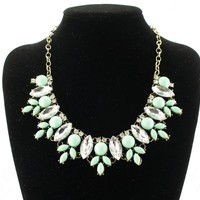 fit&wit Silver Tone Chain Zircon Bib Statement Fashion Necklace for Women Turquoise