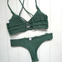 Unique Green Bikini Set Womens Swimsuit Beach Bathing Suits Summer Gift