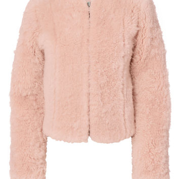 Letzia Pink Shearling Cropped Coat
