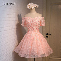 Lamya Customizable Short A line Lace Prom Dresses With Appliques Special Occasion Dress Party homecoming dresses EV2703