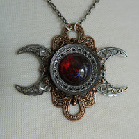 FIRE AND ICE -- Made to Order -- Triple Moon Goddess Necklace by Crow Haven Road