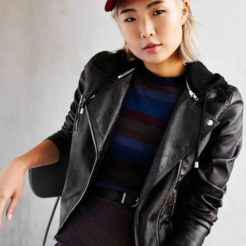 Silence + Noise Black Out Hooded Vegan Leather Jacket - Urban Outfitters