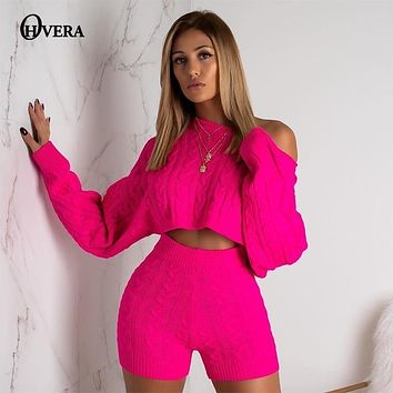 Ohvera 2018 Winter Two Piece Set Long Sleeve Knitted Sweater Crop Tops And Bodycon Shorts Suit Sexy 2 Piece Set Women Outfits