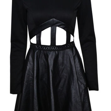 Madisson - Hollow Faux Leather Skater Dress