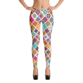 Colorful Bright Mandala Pattern Leggings for Women - Stylish Durable Novelty Leggings - Cut, Sewn, and Printed in California