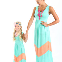 Ryleigh Rue Mint and Apricot Maxi Dress - Ryleigh Rue Clothing by MVB