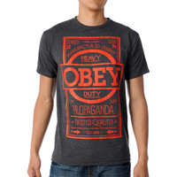 Obey Basic Label Charcoal & Red Tee Shirt