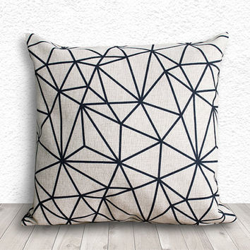 Pillow Covers, Geometric Pillow Cover, Decorative Throw Pillows, Pillow Cases, Burlap Pillows, Linen Pillows 18x18 - Printed Geometric - 289