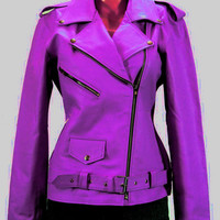 handmade women purple colr biker Leather Jacket, women purple biker Leather Jacket