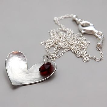Silver Heart Necklace With Red Swarovski Crystal - Red Heart Drop Necklace