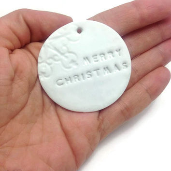 Merry Christmas Tag, Merry Christmas Ornament, Clay Tag, Gift Wrap Tags, Wishes Tag, Polymer Clay, Set of 10 or 25