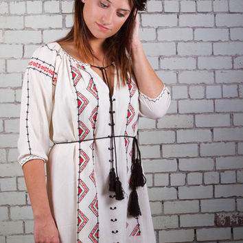 Aztec Take Me Out Tunic - Cream