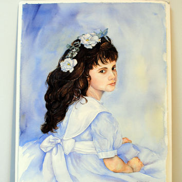 Watercolor painting of young girl with brown/brunette hair.  Signed original watercolor painting of girl with blue and white dress & flower