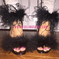 Ostrich fluffy feathered trimmed heels black fur heels