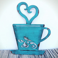 Laser Cut Metal Teacup Kitchen Wall Art - Turquoise Teal - Shabby Chic Rustic French Country Decor