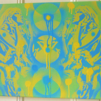 painting of two women in a abstract style,stencils & spraypaints on canvas,america,dance,greens,yellows,circles,blues,urban,wall art,comic