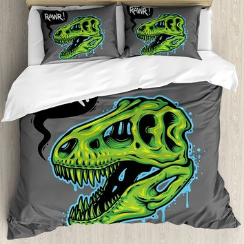 Dinosaur Duvet Cover Set Skull Illustration with Text Rawr in a Bubble Big Jaw Sopping Head 4 Piece Bedding Set Lime