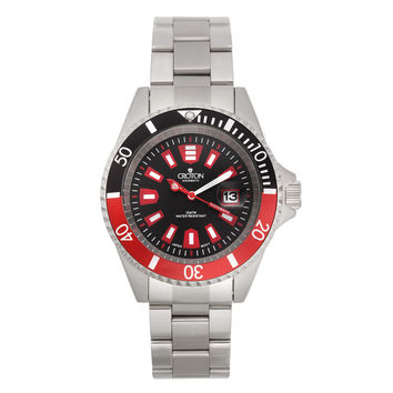 Croton Mens Stainless Steel Silvertone Rotating Bezel Watch