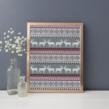 Fair Isle Nordic Christmas Wall Art Print